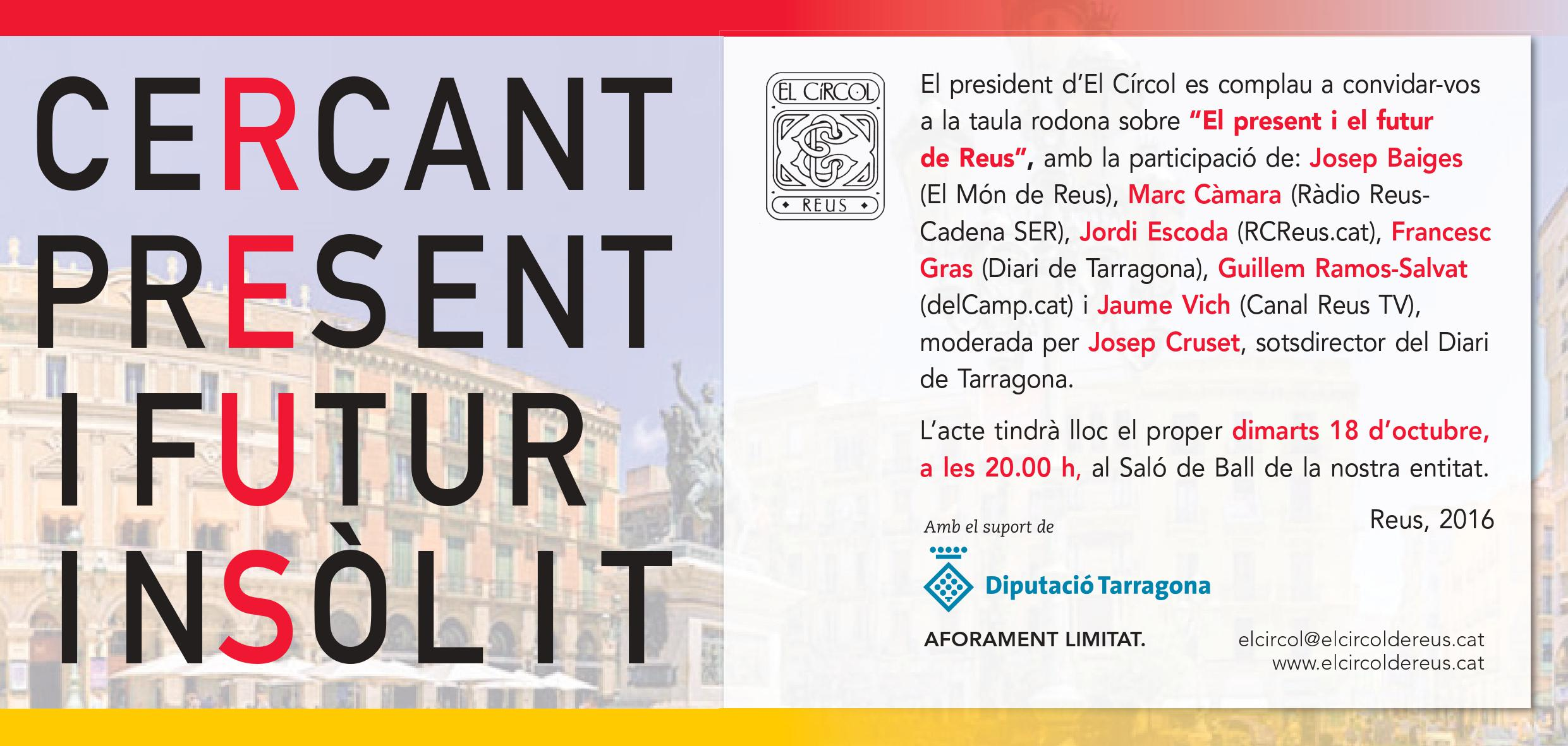 """Taula rodona """"El Present i el Futur de Reus"""" :: 18/octubre/2016"""